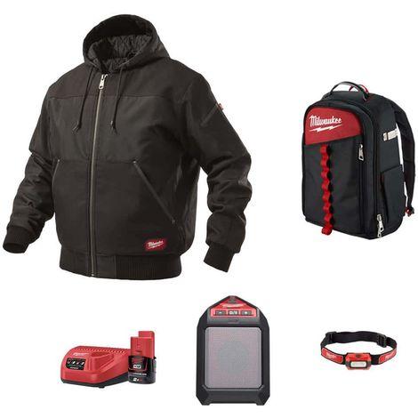 Pack MILWAUKEE Black hooded jacket WGJHBL Size M - Bluetooth speaker M12 JSSP-0 - Alkaline headlamp HL-LED - Contractor
