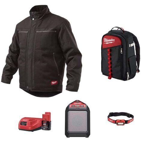 Pack MILWAUKEE Black jacket WGJCBL Size 2XL - Bluetooth M12 speaker JSSP-0 - Alkaline headlamp HL-LED - Contractor backp