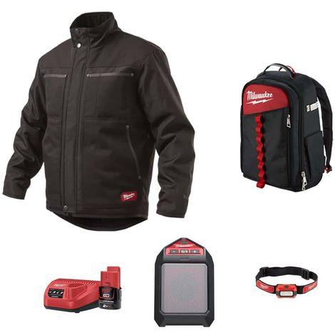 Pack MILWAUKEE Black jacket WGJCBL Size L - Bluetooth speaker M12 JSSP-0 - Alkaline headlamp HL-LED - Contractor backpac