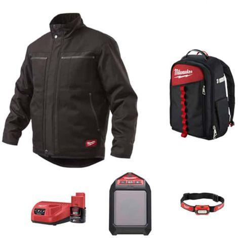 Pack MILWAUKEE Black jacket WGJCBL Size S - Bluetooth speaker M12 JSSP-0 - Alkaline headlamp HL-LED - Contractor backpac