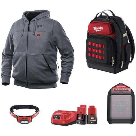 Pack MILWAUKEE Heated Sweatshirt Grey M12 HHGREY3-0 Size M - Bluetooth Speaker M12 JSSP-0 - Headlamp L4HL-201 - Backpack