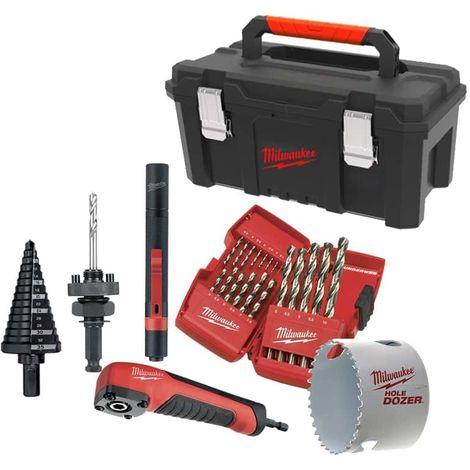 Pack MILWAUKEE - IPL-LED flashlight - on battery - Shockwave angle drive - 10 screw bits - Box of 19 metal drills MILWAU
