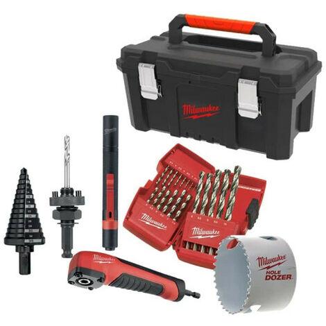 Pack MILWAUKEE - Lampe de poche IPL-LED - sur pile - Renvoi d'angle Shockwave - 10 embouts de vissage - Coffret de 19 forets métaux MILWAUKEE HSS-G THUNDERWEB - Foret étagé 6 à 35 mm - Scie cloche Hole Dozer 68mm - Caisse à outils