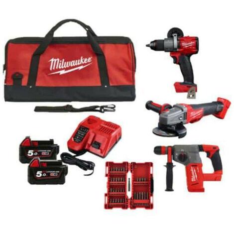 Pack MILWAUKEE M18 FUEL meuleuse d'angle CAG125XPDB-0X - perceuse visseuse FDD2-0X - perforateur SDS-Plus CHX-0 - 2 batteries 18V 5.0Ah 1 chargeur M12-18FC - coffret de 35 embouts - sac à outils