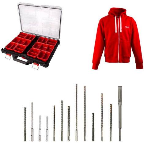 Pack MILWAUKEE organiseur 10 casiers slim PACKOUT - veste zippée Taille XL - 12 forêts - 1 burin