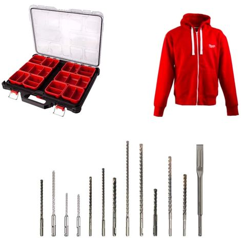 Pack MILWAUKEE organizer 10 slim traps PACKOUT - zipped jacket Size L - 12 forests - 1 chisel
