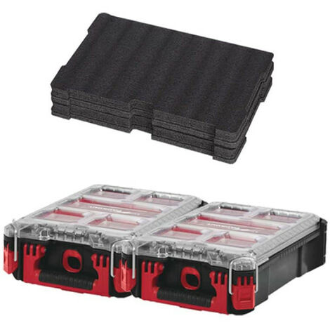 Pack MILWAUKEE PACKOUT 2 Organiseurs 5 casiers - Insert personnalisable