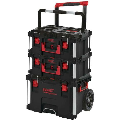 Pack MILWAUKEE PACKOUT Chariot coffret de transport - 2 Coffrets de transport 62L Taille 3