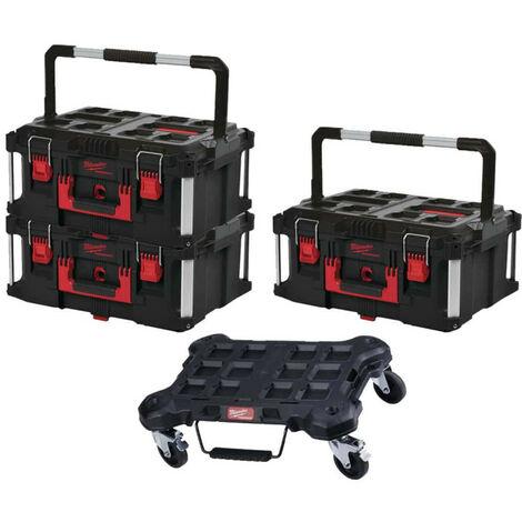 Pack MILWAUKEE PACKOUT Trolley plat - 3 Coffrets de transport 62L Taille 3