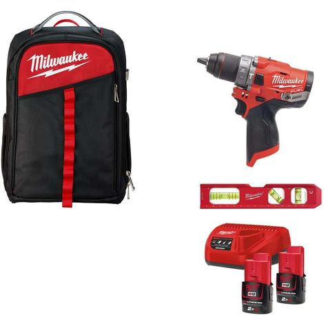 Pack MILWAUKEE Percussion drill FPD-0 - 2 batteries M12 2.0Ah 1 charger - Backpack - Box 40 pieces - 5 insulated screwdr