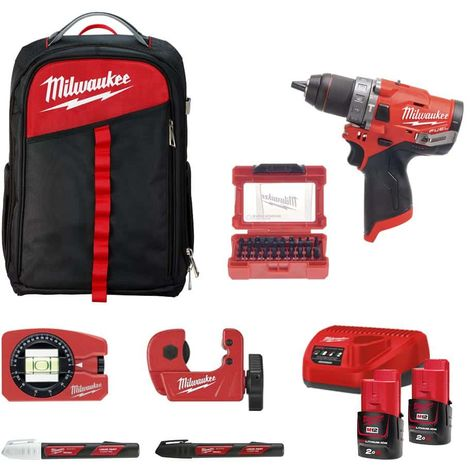Pack MILWAUKEE Percussion drill FPD-0 - 2 batteries M12 2.0Ah 1 charger - Backpack - Mini tube cutter - Pocket level - B