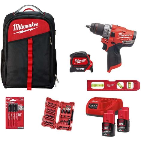 Pack MILWAUKEE Percussion drill FPD-0 - 2 batteries M12 2.0Ah 1 charger - Backpack - Shockwave box 33 pcs - Premium mete