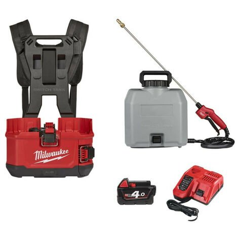 Pack MILWAUKEE pulvérisateur à dos M18 BPFPH-401 - 1 batterie 18V 4.0 Ah - 1 Chargeur - harnais - Réservoir 15 L béton