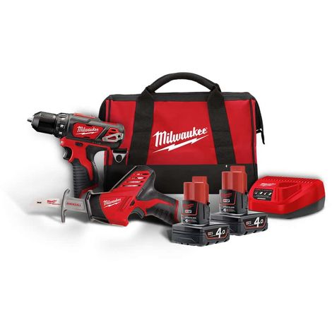 Pack MILWAUKEE Screwdriver Drill M12 - Sabre Saw M12 - M12 BPP2C-402B - 2 Batteries 4.0Ah - 1 Charger 4933441230