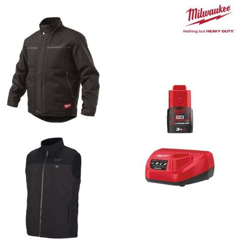 Pack MILWAUKEE Size XL - Black jacket WGJCBL - Heated jacket without handle HBWP - Battery charger 12V M12 C12 C12 C - B