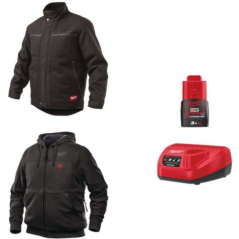 Pack MILWAUKEE Size XL - Black jacket WGJCBL - Heated sweatshirt HHBL - Battery charger 12V M12 C12 C12 C - Battery M12