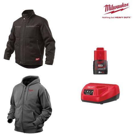 Pack MILWAUKEE Size XXL - Black jacket WGJCBL - Heated grey sweatshirt HHBL - Battery charger 12V M12 C12 C12 C - Batter