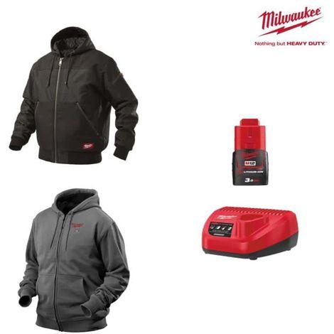 Pack MILWAUKEE Size XXL - Black jacket with hood WGJHBL - Grey sweatshirt HHBL - Battery charger 12V M12 C12 C12 C - Bat