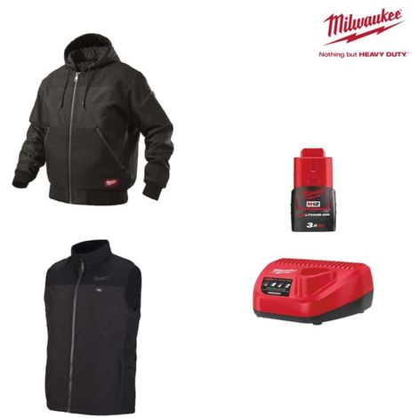 Pack MILWAUKEE Size XXL - Black jacket with hood WGJHBL - Heated jacket without sleeve HBWP - Battery charger 12V M12 C1