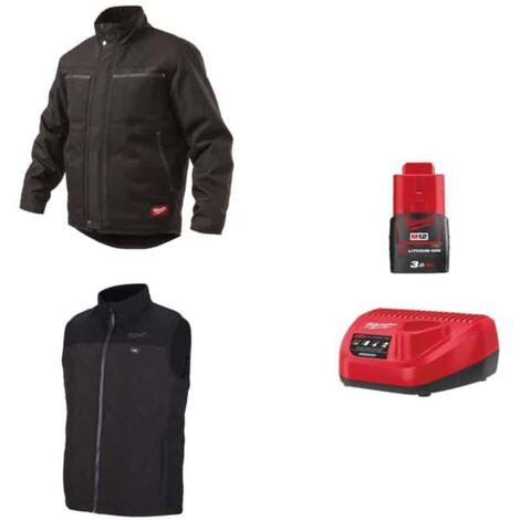 Pack MILWAUKEE Taille S - Blouson noir à capuche WGJHBL - Veste chauffante sans manche HBWP - Chargeur de batterie 12V M12 C12 C - Batterie M12 3.0 Ah