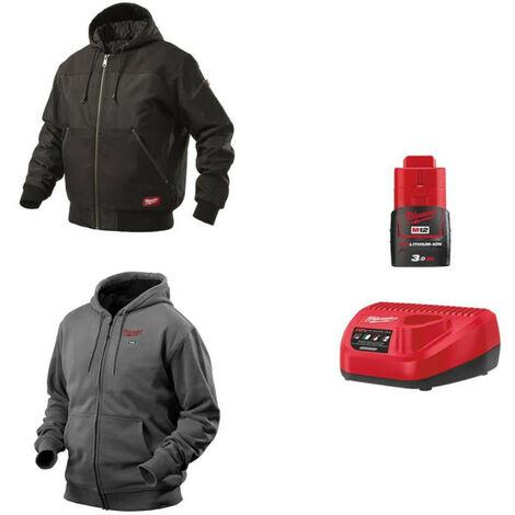 Pack MILWAUKEE Taille XL - Blouson noir à capuche WGJHBL - Sweat gris chauffant HHBL - Chargeur de batterie 12V M12 C12 C - Batterie M12 3.0