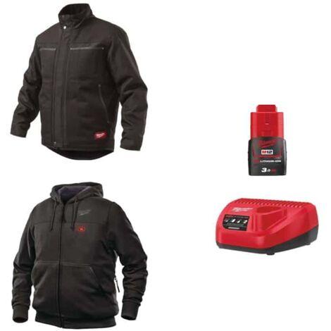 Pack MILWAUKEE Taille XXL - Blouson noir WGJCBL - Sweat chauffant HHBL - Chargeur de batterie 12V M12 C12 C - Batterie M12 3.0 Ah