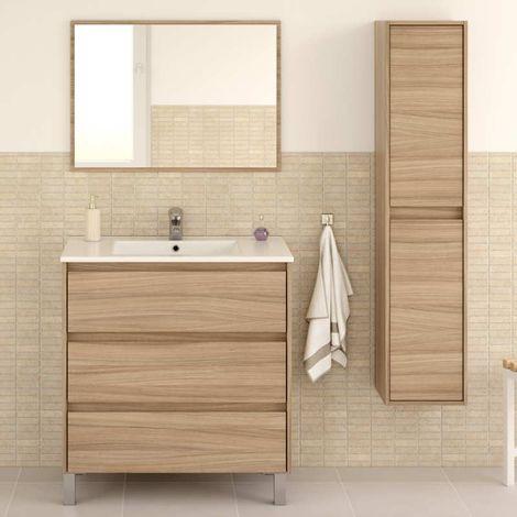 Pack mobiliario baño Dakota mueble con lavamanos cerámico y columna color nature