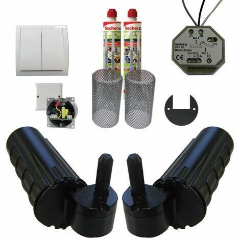 Pack motorisation pour volets 2 battants URANUS Filaire - gond Ø 14 plus 1 kit résine plus 1 alimentation - Noir