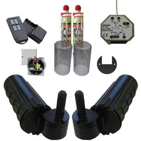 Pack motorisation pour volets 2 battants URANUS Radio - gond Ø 14 plus 1 kit résine plus 1 alimentation - Noir