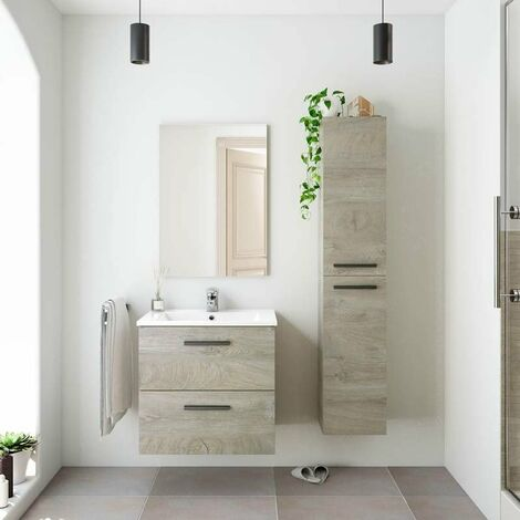 Pack Mueble baño 2 cajones con Espejo, Columna y Lavabo Color Roble Alaska Aseo Incluye LAVAMANOS