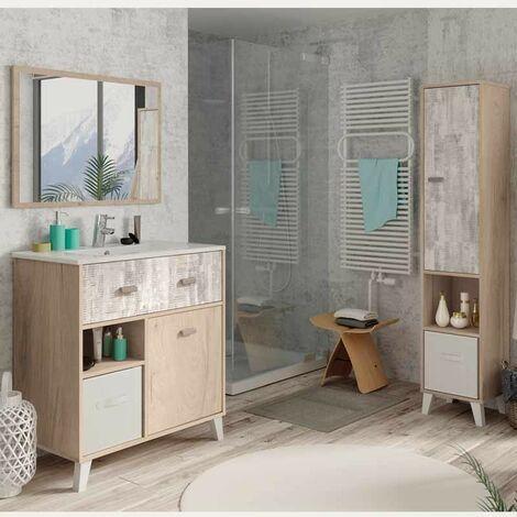 Pack mueble baño con espejo + lavamanos cerámica + columna baño color roble y collage