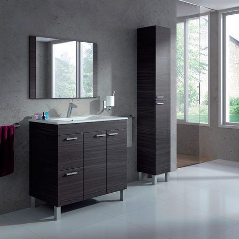 Pack mueble baño con espejo lavamanos cerámico y columna gris ceniza