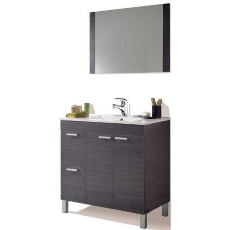 Pack Mueble Baño con Grifería Incluida, Mueble con Lavabo PMMA (NO clásica Cerámica) + espejo ( Gris Ceniza)