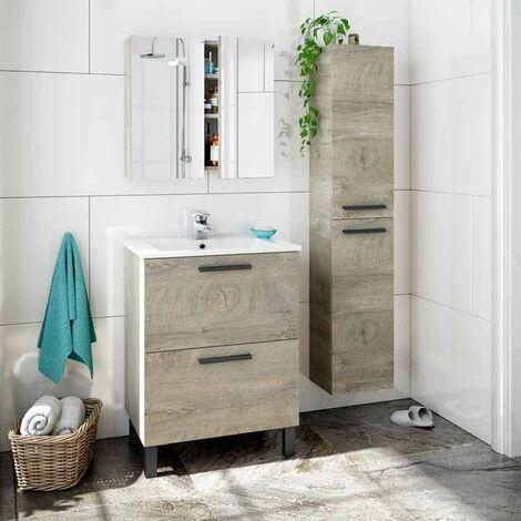 Pack Mueble baño con Lavabo, Columna y Armario con Espejo Color Roble Alaska Industrial Lavabo Incluido