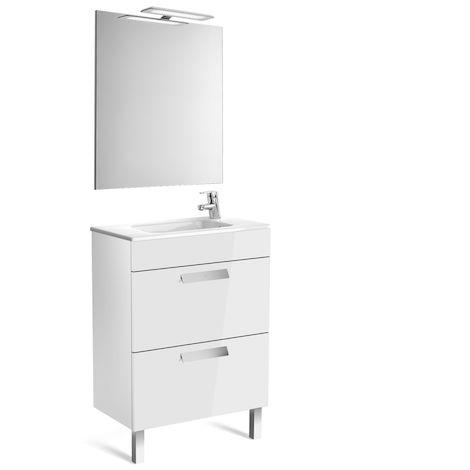 Pack (mueble base compacto con dos cajones, lavabo, espejo y aplique LED) 600mm,