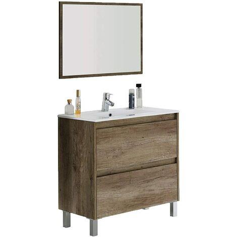 Pack Mueble de Baño con 2 cajones, Mueble + Espejo + Lavabo con Grifería Incluida