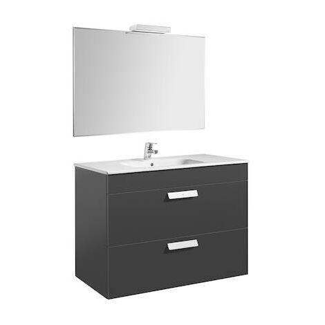 Pack (mueble de baño Roca con dos cajones, lavabo, espejo y aplique LED) Debba 1000x460x720mm