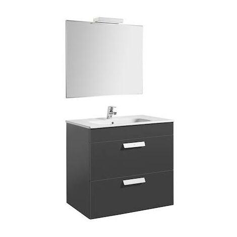 Pack (mueble de baño Roca con dos cajones, lavabo, espejo y aplique LED) Debba 800x460x720mm