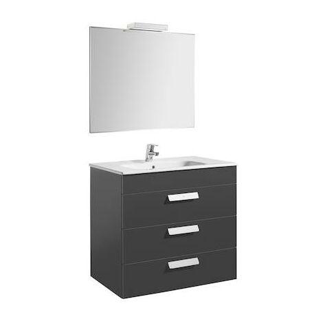 Pack (mueble de baño Roca tres cajones, lavabo, espejo y aplique LED) Debba 800x460x720mm