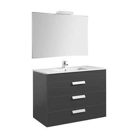 Pack (mueble de baño Roca tres cajones, lavabo, espejo y aplique LED) Debba1000c460c720mm