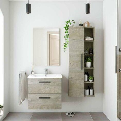Pack Muebles para baño Color Roble Alaska Industrial (Mueble+Espejo+Lavabo+Columna) Lavabo Incluido