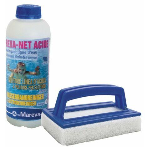 Pack nettoyage MAREVA pour ligne d'eau de piscine - Brosse éponge - Nettoyant