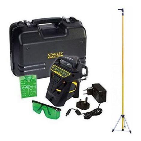 PACK Niveau laser Multiligne 360° VERT + Accesoires + Malette + Canne télescopique - STANLEY