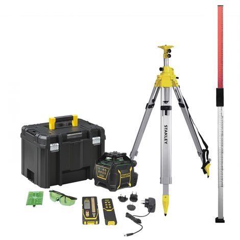 Pack niveau Laser Rotatif RL750LG (Li-Ion) Vert Stanley + trpied et mire