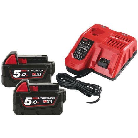 """main image of """"Pack NRJ Milwaukee 18V 5.0Ah 2 batteries 18V 5.0Ah 1 chargeur M12-18FC - 1 batterie M12 2.0Ah OFFERTE 4933459217"""""""