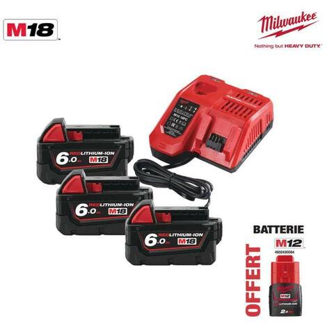 Pack NRJ Milwaukee 18V 6.0Ah 3 batteries 18V 6.0Ah 1 chargeur M12-18FC - 1 batterie M12 2.0Ah OFFERTE 4933464026