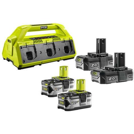 Pack NRJ RYOBI 18V - 1 chargeur 6 ports Lithium-ion RC18-627 - 2 batteries 2,0 Ah RB18L20 - 2 batteries 4,0 Ah RB18L40