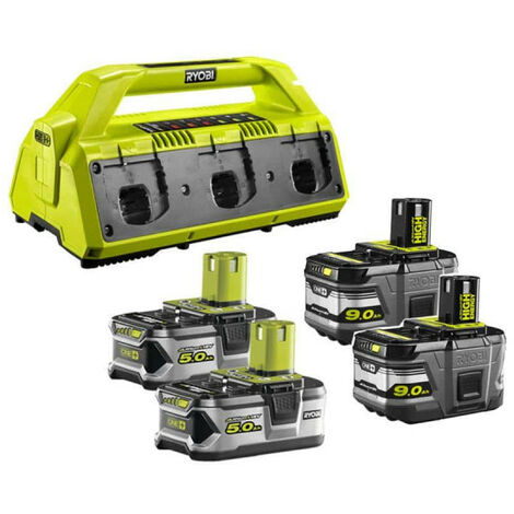 Pack NRJ RYOBI 18V - 1 chargeur 6 ports Lithium-ion RC18-627 - 2 batteries 5,0 Ah RB18L50 - 2 batteries 9,0 Ah High Energy RB18L90