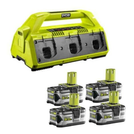 Pack NRJ RYOBI 18V - 1 chargeur 6 ports Lithium-ion RC18-627 - 4 batteries 5,0 Ah RB18L50