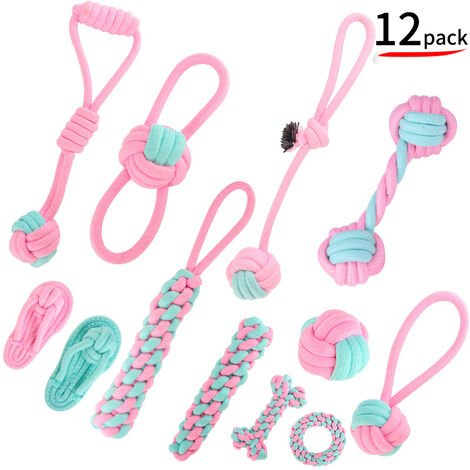 """main image of """"Pack of 10 100% Natural Cotton Rope Chew Toys for Small and Medium Dogs"""""""